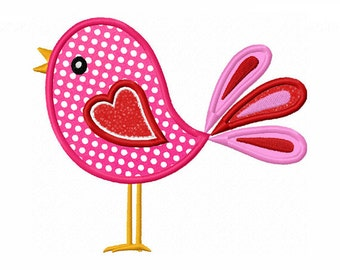 Cute Bird Applique Machine Embroidery Design NO:0049