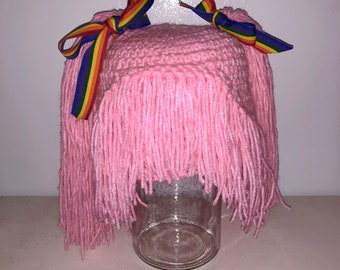 Made to ORDER pony tail Tickled Pink rainbow brite doll inspired hair wig hat beanie photo prop