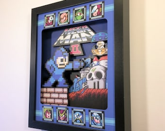 Mega Man 2 Shadow Box for Nintendo (NES) with layered 3D effect in the 8bit Style (Hand made)