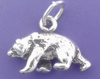 GRIZZLY BEAR Charm .925 Sterling Silver, Small Pendant - sc221