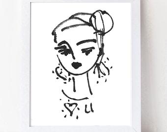 "Abstract Portrait PRINT, medium, woman portrait, Abstract Girl, ""Luv U"""