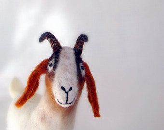 Felt Goat - Grethe. Boer Goat, Art Marionette, Puppet, Stuffed Animals, Felted soft  plush Toy for kids. white brown reddish orange