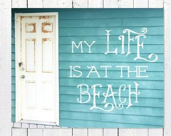 Coastal Wall Art   Rustic Nautical Decor   Turquoise + White Architecture Photography   Inspirational Print   Beach House Decor   Minimalist