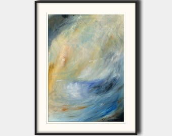 Abstract landscape sunset - abstract seascape - modern art  - abstract print art wall - Ocean Print from an Oil painting by Juan Bosco
