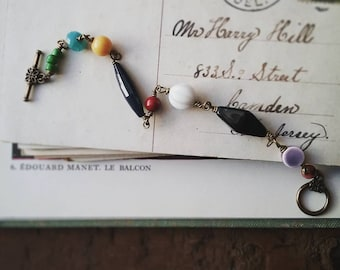 Colorful Beaded Bracelet, Rosary Style Vintage Bead Bracelet With Toggle Clasp, Bohemian Jewelry for Women