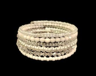 Bridal Bracelet, Wedding Bracelet, Crystal Memory Wire Bracelet, White Glass Pearl Bracelet, Bride Jewelry, Wrap Bracelet, Cuff Bracelet