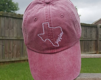 Texas State Hat, Monogrammed hat, Monogrammed cap, Monogrammed state hat, Texas A&M, Aggies, College football hat, State hat, Womens Hat