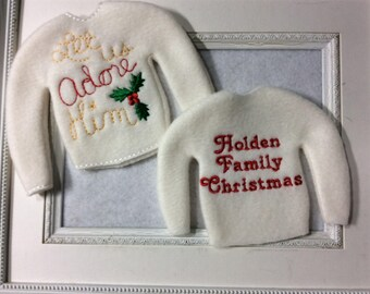 Sweater to fit one of Santa's elves  Two to choose personalization is included