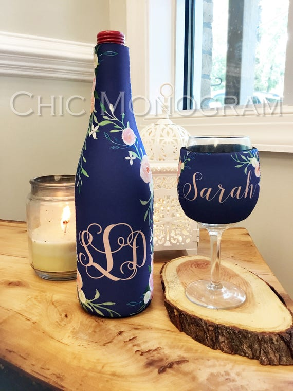 Wine Gift Set Wine Lovers Gift Elegant Floral Monogrammed Wine Bottle & Wine Glass Insulator Wine Bottle Wine Glass Hugger Bridal Gift