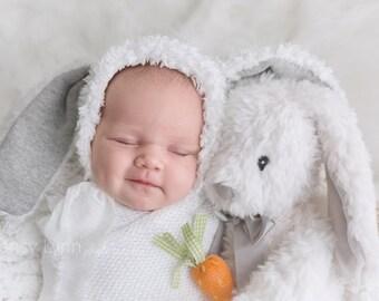 RTS Furry Bunny Bonnet, Boy Bunny Bonnet, Sitter Bunny bonnet, Girl Bunny Bonnet, Easter bunny hat, Easter photo prop, Neutral Bunny bonnet.