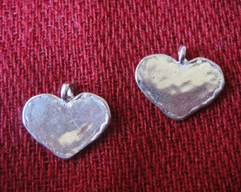 1 pc. 925 sterling silver heart charm or pendant, shiny silver