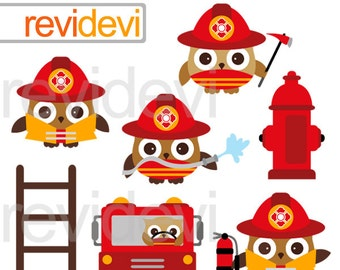 Cute Firefighter clipart - Firefighter owls clip art commercial use - firefighter truck, hydrant, ladder clipart - instant download