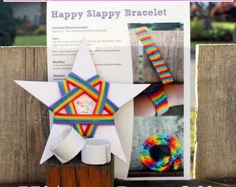 Happy Slappy Slap Bracelet Kit - Knitting Kit - Rainbow Slap Bracelet Toy - Makes 2