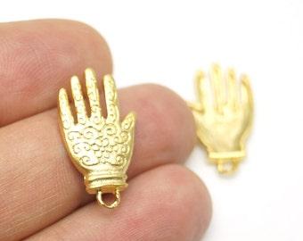 2 pcs- Matte Gold plated Hand of Hamsa  pendant-25x17mm-(023-021GP)