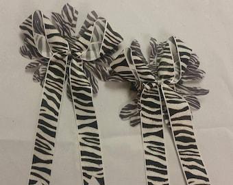 zebra print girls bow