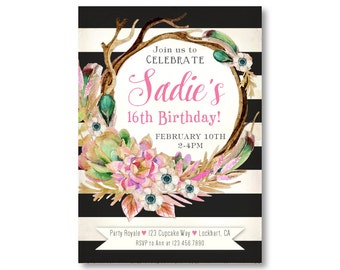 Sweet 16 Birthday Invitations, Teen Girl's Birthday, 16th Birthday, Black and White Stripes, Boho Birthday Party invites, Quinceañera