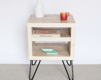 Ayesha Bedside Table | Side Table | Small Table | Natural Wood | Scandinavian Style | Hairpin Legs | Mid Century Modern | Reclaimed Wood