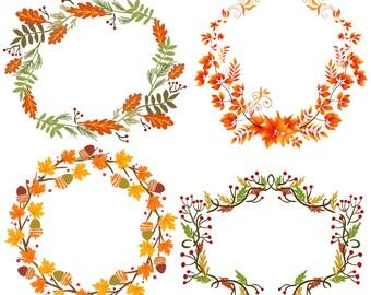 11 Autumn Wreaths | Fall Leaves Acorns | Clipart Transparent Instant Download