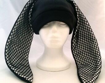 Custom black bunny rabbit hat long fishnet ears