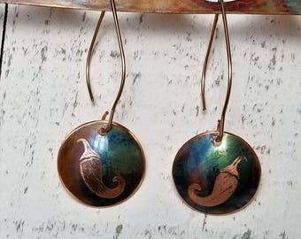 Chili Pepper Earrings | Southwestern Jewelry | Southwest Jewelry | Copper Patina Earrings | Flame Painted Copper Earrings | Desert Jewelry
