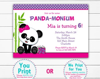 Girls Panda Birthday Party Invitation Panda Bear Birthday Panda
