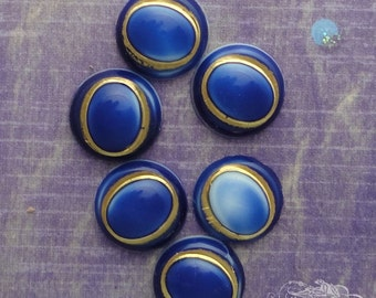 Vintage Cabochons - 9mm Round Faux Lapis With Gold Detailing - 6 West German Glass Cabs