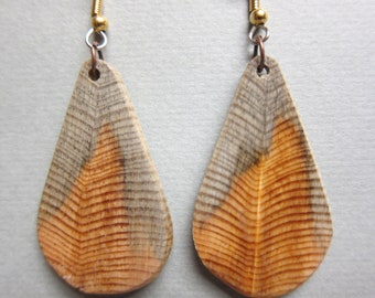 Unique Primitive Feather Like Exotic Wood Earrings Dangle ExoticWoodJewelryAnd handcrafted ecofriendly