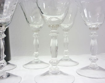 Cambridge Liquor Caprice Pattern Clear Stem #300 Set of 6