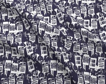 Protest  Fabric - Civil Rights March On Purple By Landpenguin - Political Activism Social Justice Cotton Fabric By The Yard With Spoonflower