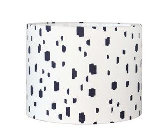 Blue Spot Drum Lampshade - Custom Lamp Shades - Caitlin Wilson - Designer Fabric - Modern Contemporary