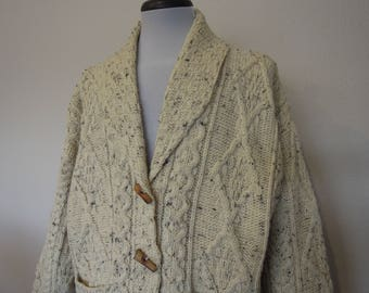 Vintage Chunky Cream Wool Knit Pullover Fishermans Sweater Size Medium Large or XL Oversize
