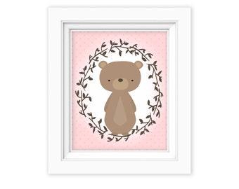 Printable Wall Art, Woodland bear art, Baby Girl Nursery decor, Nursery art, Baby Girl Woodland Nursery Print