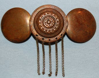 Barrette Hair Clip, Copper Metal, Vintage old jewelry