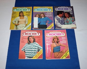 Vintage Quick and Easy Crochet Patterns Booklets – 5 Knitting & Crocheting Pattern Booklets Knit Projects Book