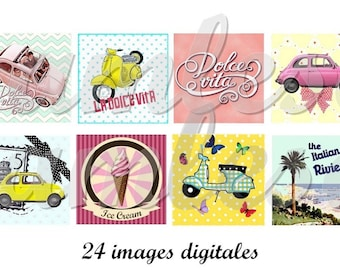 Digital collage sheet scrabble images Dolce vita Italy,sixties, cupcake toppers digital scrabble- scrapbooking, instant download