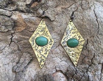 Handmade earings, brass earings,oxidized brass,aventurine stone,boho earings