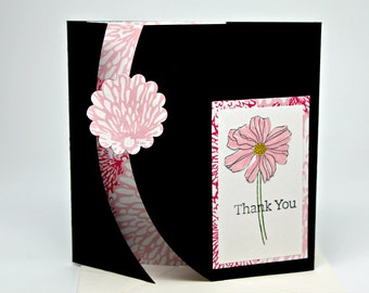 CLEARANCE: Thank You Greeting Card- Gift Card Holder-Handmade Gift Certificate Holder-  One of a Kind