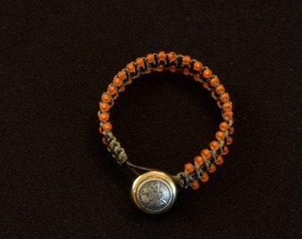 Orange Leather Wrap Bracelet with a Button Closure