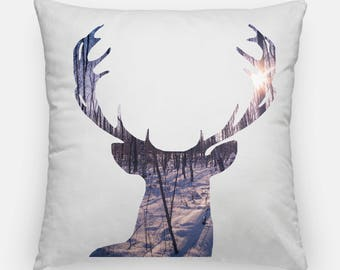 Decorative Throw pillow cover -Deer silhouette - Winter landscape - Home decor