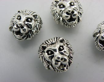 5 lion heads silver plated brass with a hole 2 mm 13 mmx12mm