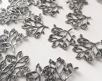 14 Silver Tree Charms - Branch Connector Pendants