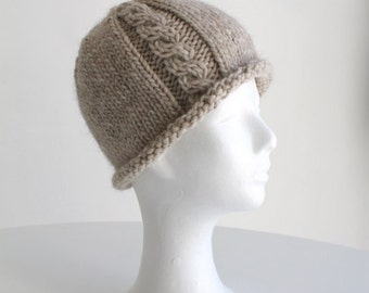 Hand knit beanie hat for women with cable