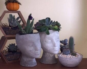 Concrete Head Planter Lady