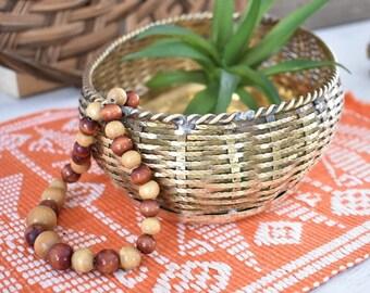 Brass Weaved Oval Tray/Bowl/Vintage Brass Bowl/Weaved Bowl