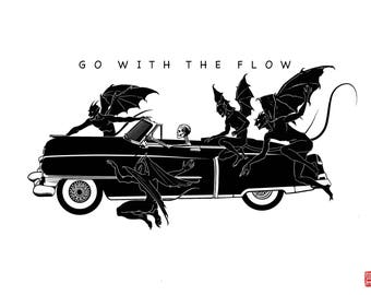 Go With The Flow A4 Fine Art Print on 225gsm 100% cotton paper
