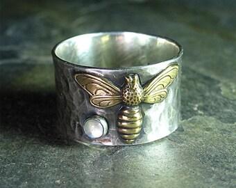 Biene Ring Edelstein Sterlingsilber Honigbiene Natur Schmuck Insekten - Biene Schatz