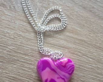 HEART pendant necklace / HEART marble