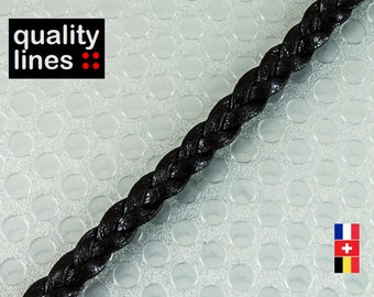 X 18CM - 5mm flat 2 mm black leather braided (18 cm is enough to make a bracelet up to size XL)