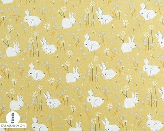 Fabric Bio Jersey Birch White Bunny, hare