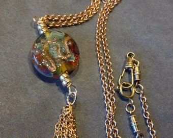 SALE 18k Gold Necklace Copper Necklace Antique Watch Fob Chain Lampwork Focal Stone